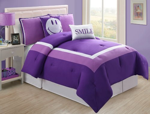 Where to find 4 Pc Modern Purple and White Teen/girls Comforter