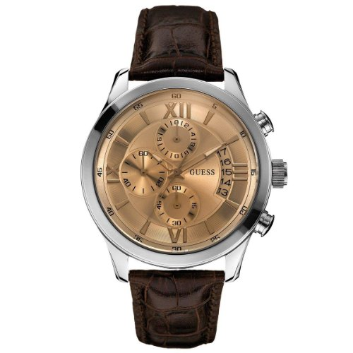 Guess herenhorloge XL mannen Dress chronograaf kwarts leer W0192G1
