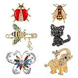 Tanersoned 6 Pcs Conjunto de Broches para Mujer, Coloridos Broche Pin de Cristal de Insectos de Moda para joyeria Unisexo