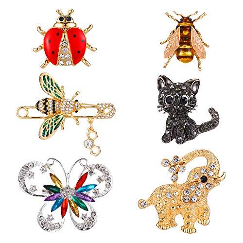 Tanersoned 6 Pcs Conjunto de Broches de Animales para Mujer, Coloridos Broche Pin de Cristal de Insectos de Moda para joyeria Unisexo