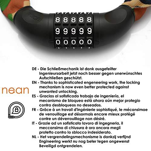 nean Fahrrad-Ketten-Schloss, Zahlen-Code-Kombination-Schloss, Stahlkettenglieder, Army, 6 mm x 900 mm - 6