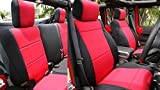 GEARFLAG Neoprene Seat Cover Custom fits Wrangler JK 2007-2017 Unlimited 4 Door NO-Side airbag Full Set (Front + Rear Seats) (Red/Black)