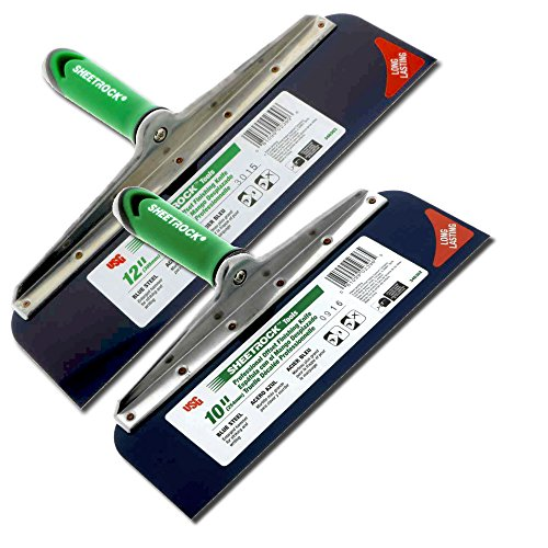 "USG Sheetrock 2-Piece Offset Drywall Taping Knife Set - 10"" and 12"" w/Blue Steel Blade"