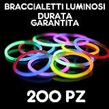 Partylandia Shop- BRACCIALI Braccialetti Luminosi Fluorescenti Starlight Glowstick Disco Glow Stick 200 PZ, Multicolore, 200starlight