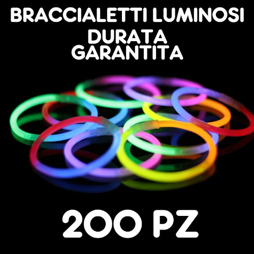 Partylandia Shop- BRACCIALI Braccialetti Luminosi Fluorescenti Starlight Glowstick Disco Glow Stick 200 PZ, Multicolore, 200starlight