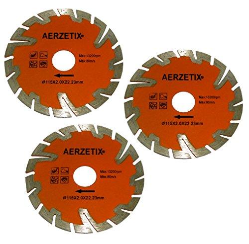 Aerzetix: 3x diamant-slijpschijven diamant lemmet gesegmenteerd turbo 115 mm 22,2 mm haakse slijper tegel steen beton C18203
