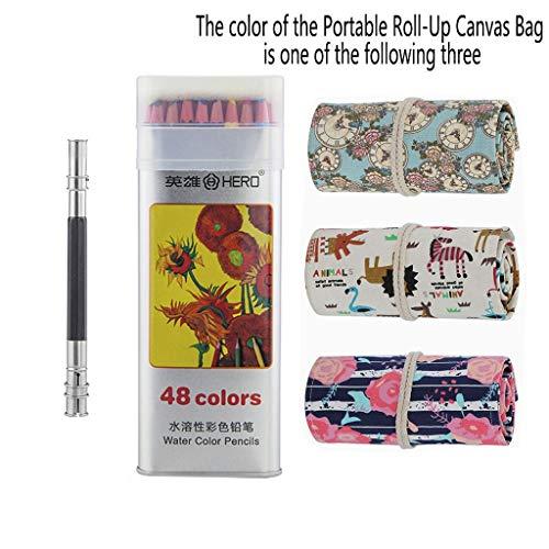 JOSSIK Color Pencil Set, Advanced Artist Color Pencil Set, Canvas Pencil Set, Attached Pencil Extender, Water Soluble Color Pencil Set (Color : 48)