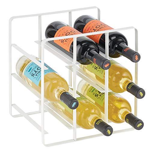 mDesign Wein- und Flaschenregal – Weinregal mit ansprechendem Design – Weingestell aus Edelstahl mit drei Ebenen – ideal für Küchenschränke, Abstellkammern oder Wohnzimmer – weiß