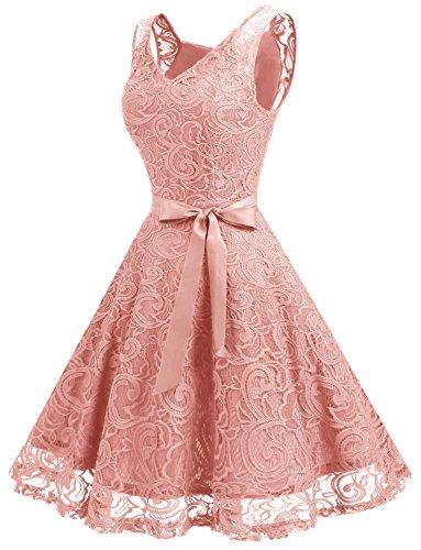 Dressystar Vestido Fiesta Corto Flor Encaje Elegante Mujer Sin Mangas para Dama De Honor Rubor XL
