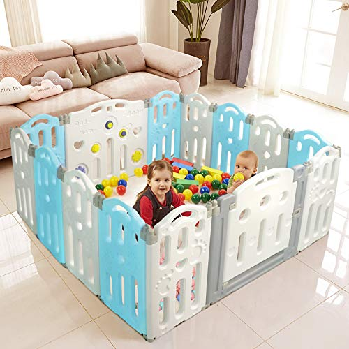 Playpen for Babies, Foldable Baby Play Yards, Nonslip Play Pen, Baby Play Yard with Safety Lock, Baby Gate Play Yard Area for Toddler, Play Pens for Babys Indoor Outdoor,(14 Panel Blue+White)