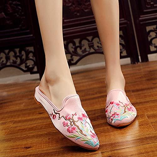 GaYouny Zapatos Bordados Mujeres Bordadas de algodón de Seda Cierre Punta Puntiaguda Toe Mulas Zapatillas Verano otoño Damas resbalones en Zapatos Planos (Color : Pink, Size : 40)