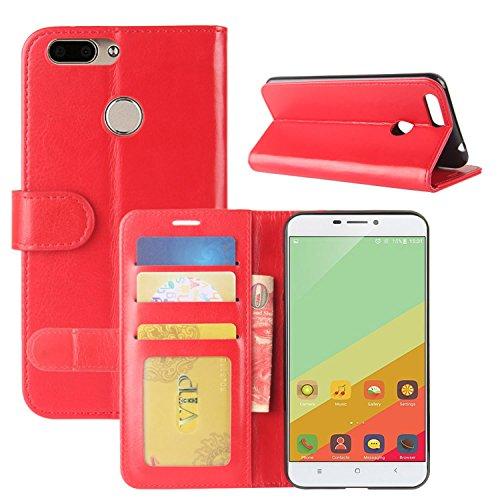 HualuBro Oukitel U20 Plus Hülle, Retro PU Leder Leather Wallet HandyHülle Tasche Schutzhülle Flip Hülle Cover für Oukitel U20 Plus Smartphone - Rot