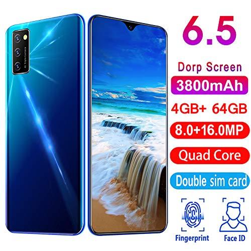 Smartphone 4g, Telefonos Moviles Libres 3800mAh, 6.5'' Cámara 8MP+16MP Dual SIM 4GB+64GB, NFC Face ID + Huella Digital Android 9.0,A