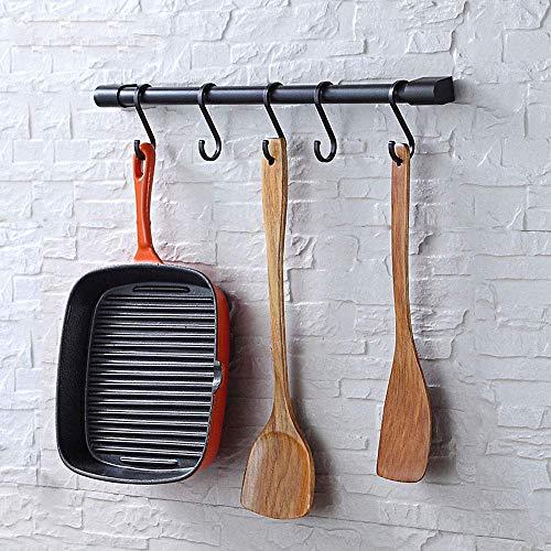 Estante de utensilios de cocina KAIYING con ganchos S extraíbles para colgar ollas y sartenes, ganchos de varilla para tazas, organizador de riel de cocina montado en la pared, aluminio, (ganchos negros-5)