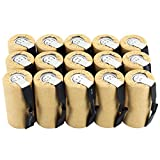 Tenergy NiCd SubC 2200mAh Paper Wrapped Rechargeable Battery Flat Top with Tabs - 15 Pack