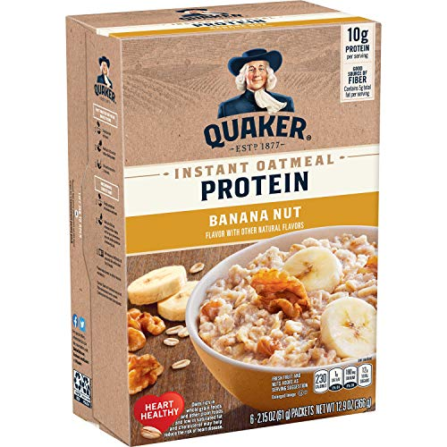 Quaker Protein Instant Oatmeal Banana Nut 10g Protein Individual Packets 36 Count