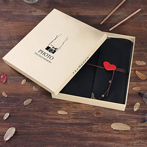 ThxMadam Scrapbook Cuero Álbum de Fotos Libro de Visitas de Boda con 60 Páginas Negras Presentes para Regalo de Valentín Día de Aniversario Navidad Cumpleaños para Esposa Hija Madre(Medio, álbum)