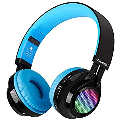 Bluetooth Headset, Riwbox AB005 Wireless Headphones 5.0 with Microphone Foldable Headphones with TF Card FM Radio and LED light for Cellphones and All Bluetooth Enabled Devices (Black&Blue) from Riwbox