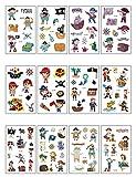 Yongbest Tattoo Kinder,12 Blatt Piraten Tattoo Temporäre Piraten Tattoo Set für Kinder Mädchen Jungen Geburtstagsfeier,Piraten Party Supplies