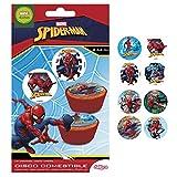 Lot de 16 disques comestibles Spiderman pour gâteaux en sucre