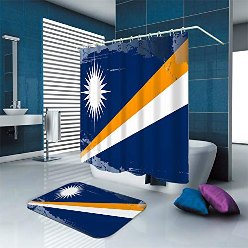 """SARA NELL Shower Curtain Marshall Islands National Flag Waterproof Polyester Fabric Shower Curtain (72"""" x 72"""") Set with 12 Hooks and Bath Mats Rugs (23.6"""" x 15.7"""") for Bathroom"""
