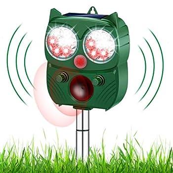 ROTEK Repulsif Chat, Ultrason Solaire Repulsif Chat Repulsif Chat Exterieur, Solaire et Fonctionnant sur Batterie 2000mAh Capteur, PIR de Mouvement et Lumière Clignotante pour Chats, Chiens, Renards