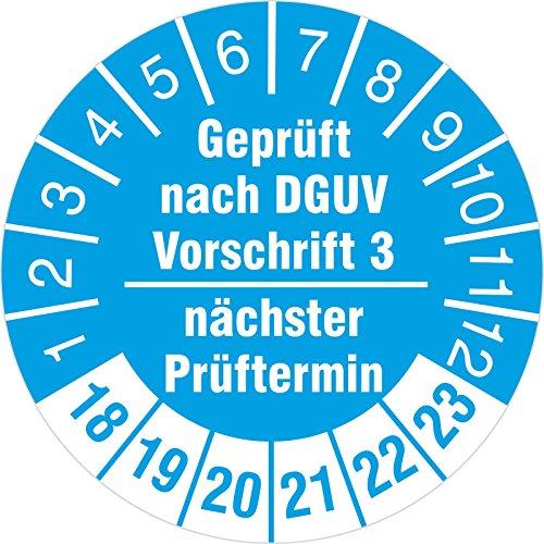 100 Stück nächster Prüftermin - geprüft nach DGUV Vorschrift 3 Prüfetiketten / Prüfplaketten 30 mm rund 2018-23