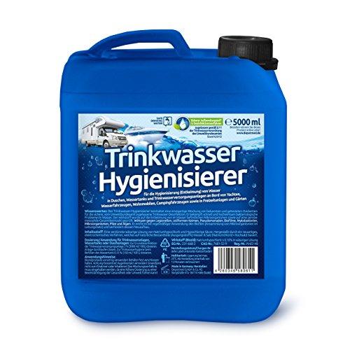 Trinkwasser Hygienisierer für Caravan, Yachten, Wohnwagen -Reisemobile Trinkwasserdesinfektion 5 Liter - ohne Silber, Caravanreiniger, Wohnwagenreiniger, Wohnmobilreiniger, Wasserdesinfektion, Trinkwasserhygiene
