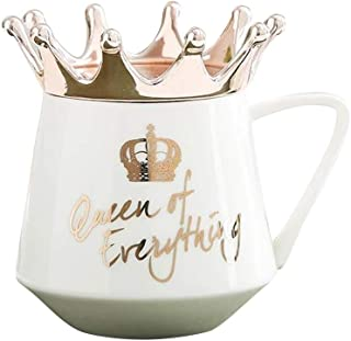 Lamoreco Crown Cup Nordic Style Mug Ceramic Simple Girl Gift for Coffee Water Breakfast Queen of Everything Mug Ceramic Cup for Coffee and Tea with Handle, Funny Novelty Cup
