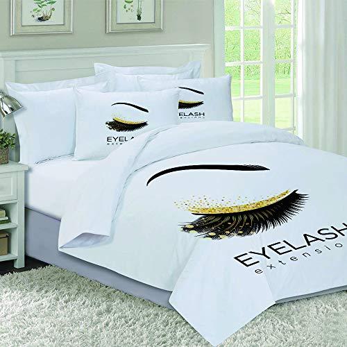 oobon Sets de Housses de Couettes,Lash Eyelash Extension Makeup in Modern Eye Beauty Eyebrow Cosmetic,Mikrofaser 1 Bettbezuge & 2 Kissenbezuge
