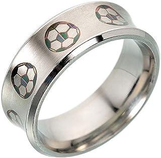 HSQYJ الرجال 8 ملليمتر الفولاذ المقاوم للصدأ خاتم المينا كرة القدم نمط مصقول الانتهاء بارد الزفاف العصابات الأزياء والمجوهرات