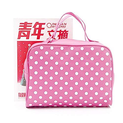 Sacs à cosmétiques Fashion Lady Organizer Multi Functional Storage Dots Women Makeup Bag with Pockets Toiletry Pouch-Pink_25 * 20 * 12cm
