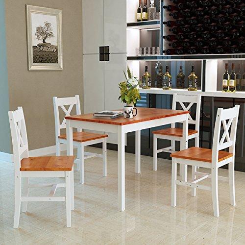 Panana Esstisch Stuhl Set Essgruppe Tischgurppe, Esstischgruppe Sitzgruppe Esszimmergarnitur, 108 x 65 x 73 cm, Tisch und 4 Stühle, Holz - Braun + Weiß