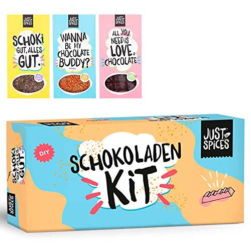 Just Spices DIY Schoko-Kit I Schokoladen-Set zum Selbermachen I Als Geschenk-Set für Männer und Frauen oder zum selber herstellen