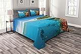 ABAKUHAUS Bunt Tagesdecke Set, Taucher in Korallenriff-Bild, Set mit Kissenbezügen Feste Farben, 220 x 220 cm, Azurblau & Multicolor