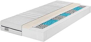 Traumnacht Komfort 7-zons 1000 tunnficka fjädermadrass med kall skumdyna hårdhet 4 (H4), 90 x 200 cm, vit