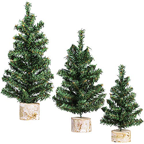 Winlyn 3 Pack Mini Canadian Pine Trees with Wood Bases Artificial Miniature Christmas Trees for Holiday Season Tabletop Decoration Centerpiece Displays Xmas Green Assorted Sizes 7.5' 8.9' 10.8'