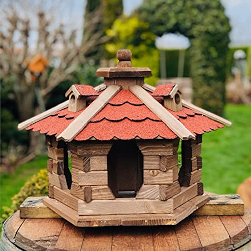 Darlux Comedero para pájaros, casa L, forma hexagonal, madera, color marrón/rojo