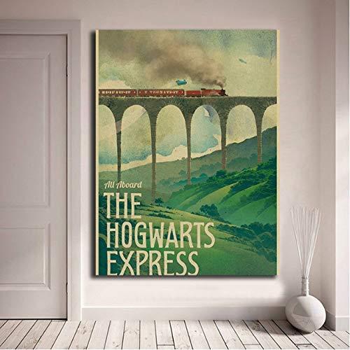 CGDZ Harry Potter Poster New Vintage Hogwarts Express Lienzo Posters Impresiones Arte...