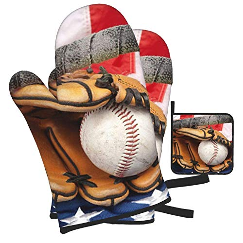 BIBIBA Baseball Equipment- Oven Mitts and Pot Holders Sets 3 Piece SetSuitable for Kitchen Cooking Heat Resistant Baking Grilling Machine Gloves