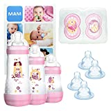 MAM Grow With Me Bottle Set, regalos para bebés, con 3 biberones anticólicos Easy Start (160/260/320 ml), 2 chupetes Original +6, 2 tetinas T3 y 2 TX, 2 meses, NIÑA (Girl)