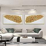 cuadros decoración Pinturas al óleo de pájaro dorado pintadas a mano Alas de ángel Arte de la pared Textura gruesa Lámina de oro Cuadro de lienzo Arte moderno de la del hogar 30x60cmx2Sin marco
