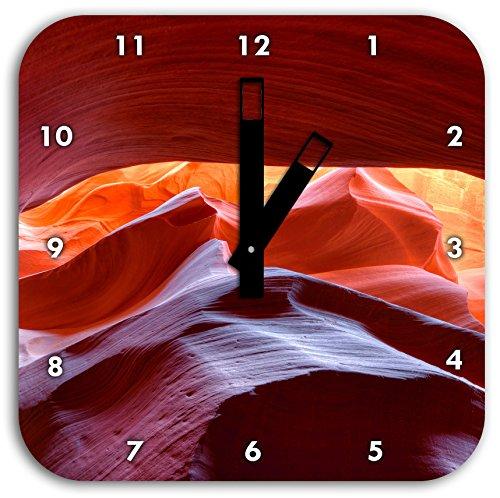 Antelope Canyon Arizona, Wanduhr Quadratisch Durchmesser 28cm mit schwarzen eckigen Zeigern und Ziffernblatt, Dekoartikel, Designuhr, Aluverbund sehr schön für Wohnzimmer, Kinderzimmer, Arbeitszimmer