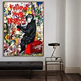 LKJHGU Funny Monkey Street Art Banksy Graffiti on Canvas Painting Abstract Einstein Pop Art Canvas Print for Kids Room Decor Decoration 40x60cm