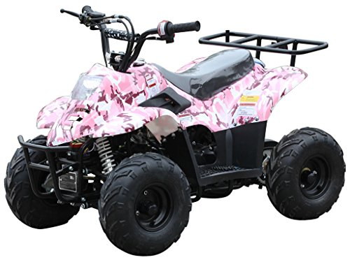 110cc ATV Four Wheelers Fully Automatic 4 Stroke Engine 16' Tires Quads for Kids Carbon Fiber