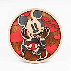 Mickey Mouse Wooden Clock Walt Disney Wall Art Cartoon Art Xmas Gift for Kids Cute Mickey Mouse 12 Inch Wooden Clock Birthday Gift for Girl Wooden Wall Clock with Mickey Mouse Design 3D Wall Clock