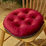 Nicole Knupfer 2er Set Sitzkissen, Stuhlkissen mit Bändern, Samt Kissen Sitzauflage Stuhlauflage für Indoor und Outdoor (Weinrot,Rund 40 cm)
