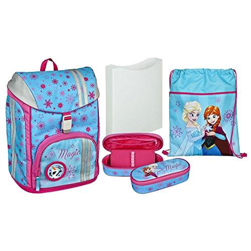 Undercover GmbH FRSW7552, set scolastico completo - cartella, sacca, astuccio e marsupio - tutto il materiale scolastico utile per il tuo bambino - serie 'Disney Frozen'
