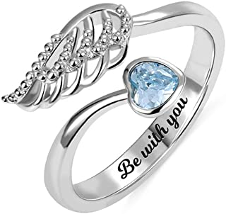 Personalized Forever by My Side Angel Wing Ring Sterling Silver 925 for Her Wedding Band Ring Engagement Ring