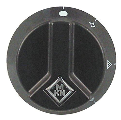 MKN Knebel für Gasherd Optima für Gashahn ø 65mm Symbol mit Zündflamme für Achse ø 6x4,6mm mit Abflachung unten schwarz
